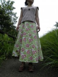 インド木版 サンガネール マキシラップスカート