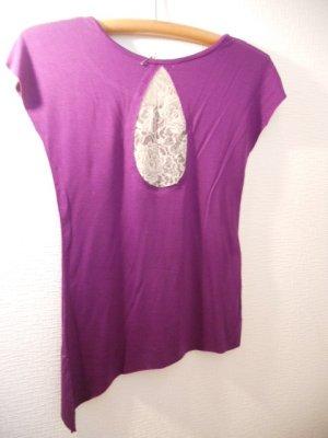 画像2: バックレース アシンメトリーTシャツ パープル