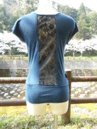 コットン100%デザインTシャツ☆バックセンターレースT ネイビー