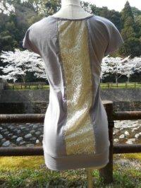 コットン100%デザインTシャツ☆バックセンターレースT ラベンダー