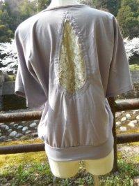 コットン100%デザインTシャツ☆バックレースドルマンスリーブ ラベンダー