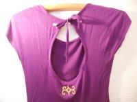 アイヌ手刺繍!バックオープンアシンメトリーTシャツ パープル