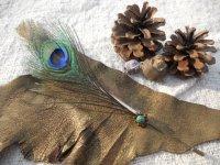 天然石と羽根のハットピン ミネラル&フェザー ピン