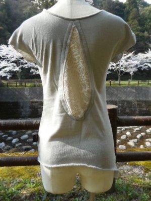 画像1: コットン100%デザインTシャツ☆バックレースT アイスグレー