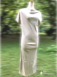 ドレープ アシンメトリー マキシ丈ワンピース beige gray