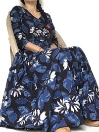 NEW! ブロックプリント ボタニカル ワンピース マキシ丈  ⭐︎ dabu 藍染 インディゴ バグルー 草木染